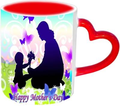 Jiya Creation1 Mother & Cute baby wallpaper Happy Mother's day Red Heart Handle Ceramic Mug