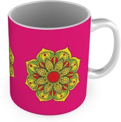 Kiran Udyog Yellow Flower Printed Design Fancy Pink Coffee  563 Ceramic Mug