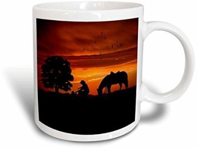3dRose mug_173217_1 Cowboy Campfire with Horse on a Hill At Sunset Has a Western Feel Ceramic , 11-Ounce Ceramic Mug