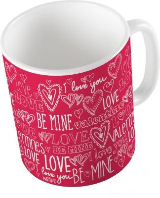 Indiangiftemporium Pink Designer Romantic Printed Coffee  686 Ceramic Mug