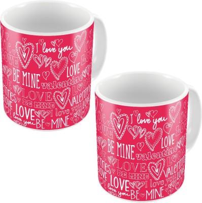 Indiangiftemporium Pink Designer Romantic Printed Coffee s Pair 686 Ceramic Mug