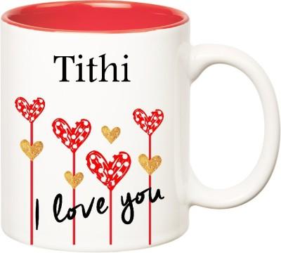 Huppme I Love You Tithi Inner Red  (350 ml) Ceramic Mug