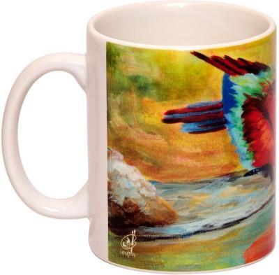 IMFPA Red Parakeet Sipping Water Ceramic Mug