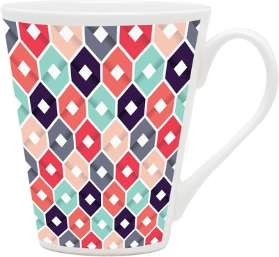 HomeSoGood Colored Hexagonal Boxes Pattern Ceramic Mug