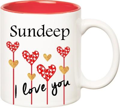 Huppme I Love You Sundeep Inner Red  (350 ml) Ceramic Mug