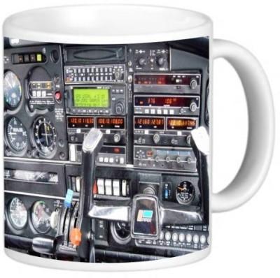 Rikki Knight LLC Knight Photo Quality Ceramic Coffee , 11 oz, Flight Airplane Cockpit Ceramic Mug