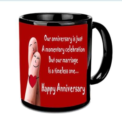 Jiya Creation1 Smiling Happy Anniversary Multicolor Ceramic Mug