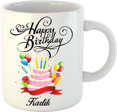 Huppme Happy Birthday Kartik White  (350 ml) Ceramic Mug