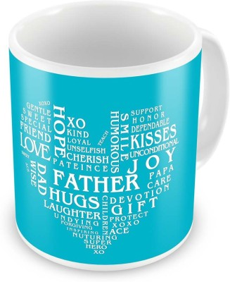 Indian Gift Emporium Heart Shape Words Collection Coffee  For Father 518 Ceramic Mug