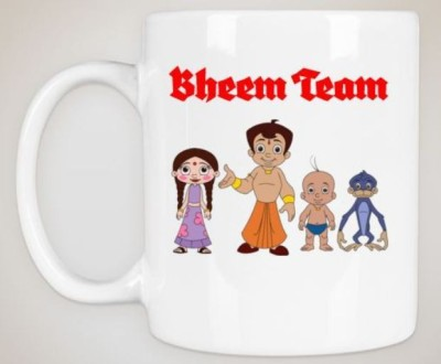 Huppme Gifts Bheem Team White  Ceramic Mug