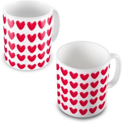 Indian Gift Emporium Beautiful Cute Hearts Print Design Coffee  Pair 503 Ceramic Mug