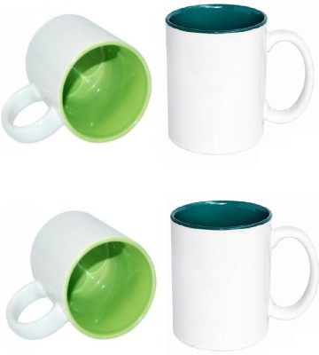 CreativesKart Coloured Inside s Parrot Green & Dark Green Family Pack Ceramic Mug