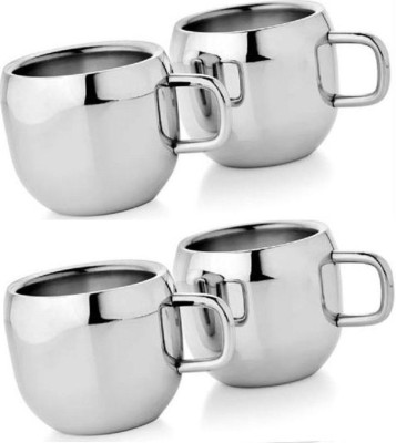 Dynore Set of 4 Double Wall Apple Cups Stainless Steel Mug