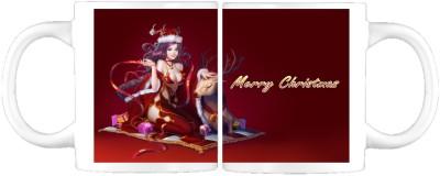 Awwsme Merry Christmas Girl Cart Ceramic Mug