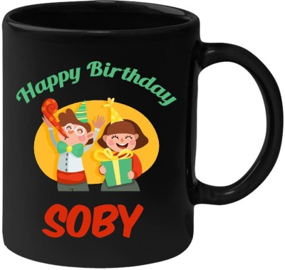 Huppme Happy Birthday Soby Black  (350 ml) Ceramic Mug