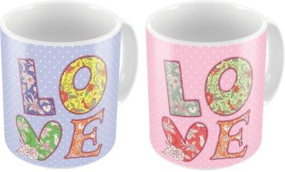 Home India Designer Romantic Printed Coffee s Pair 209 Ceramic Mug