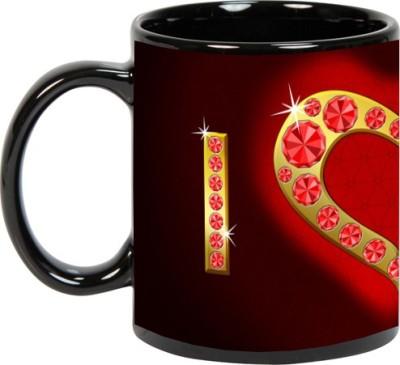 Goonlineshop I-Love-You Black Ceramic Mug