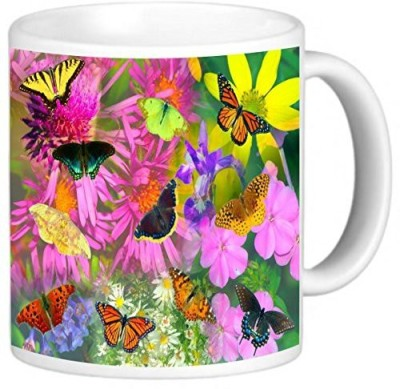 Rikki Knight LLC Knight Photo Quality Ceramic Coffee , 11 oz, Butterflies Design Ceramic Mug
