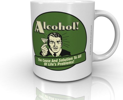 Bcreative Alcohol The Cause And Solution Of All Life's Problems (Officially Licensed) Ceramic Mug