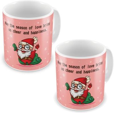 Indian Gift Emporium Cute Santa Print Design Pink Coffe s Pair 605 Ceramic Mug