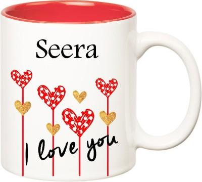 Huppme I Love You Seera Inner Red  (350 ml) Ceramic Mug
