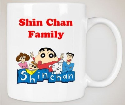 Huppme Gifts Shinchan Family White  Ceramic Mug