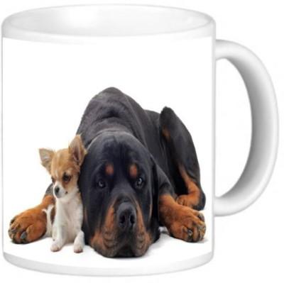 Rikki Knight LLC Knight Photo Quality Ceramic Coffee , 11 oz, Rottweiler and Chihuahua Ceramic Mug