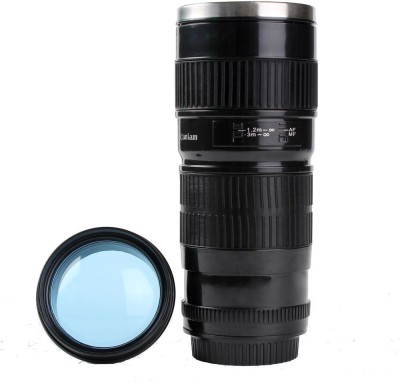 Gadget Paradise Black Long Camera Lens Car Travel Flask  Stainless Steel Mug
