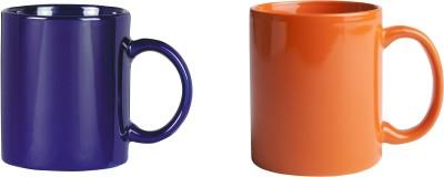 CreativesKart Indigo Blue N Saffron Orange  Ceramic Mug
