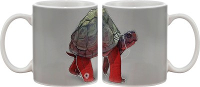 Artifa Tortoise Music Art Porcelain, Ceramic Mug