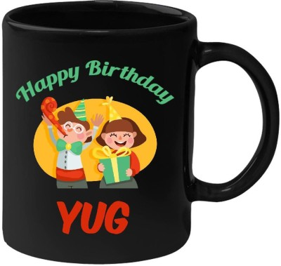 Huppme Happy Birthday Yug Black  (350 ml) Ceramic Mug