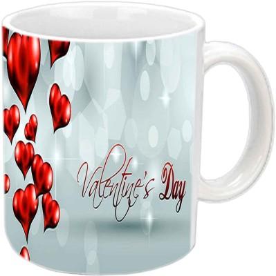 Jiya Creation Flying Hearts Valentine White  Ceramic Mug