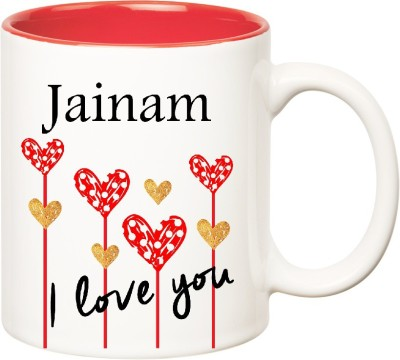 Huppme I Love You Jainam Inner Red  (350 ml) Ceramic Mug