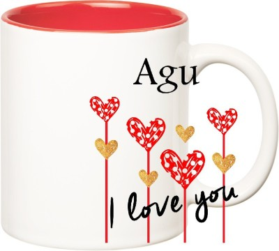 Huppme I Love You Agu Inner Red  (350 ml) Ceramic Mug