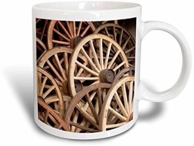 3dRose Japan, Gifu, Takayama, Antique Wagon Wheels, John and Lisa Merrill, Ceramic , 15-Oz Ceramic Mug