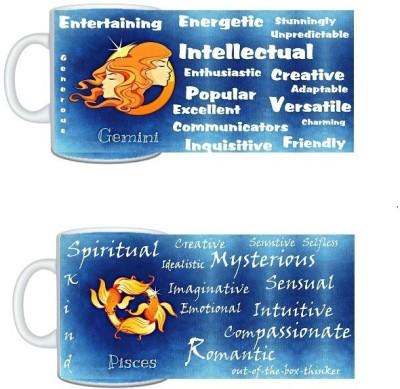 CreativesKart Zodiac Gemini (M) Pisces (F) Compatibility  Ceramic Mug