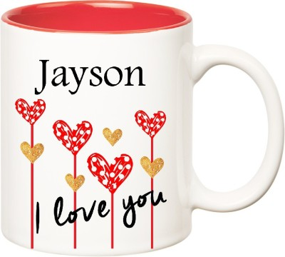 Huppme I Love You Jayson Inner Red  (350 ml) Ceramic Mug
