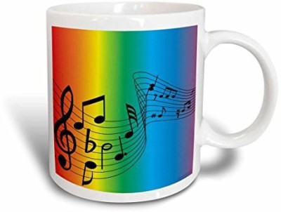3dRose Swirl of Rainbow Music, 11-Ounce Ceramic Mug at flipkart