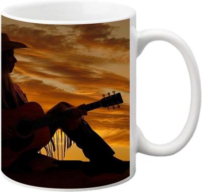 ezyPRNT Cowboy Guitarist Ceramic Mug