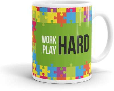 QuoteSutra Work Hard Play Inspiring Quote Ceramic Mug