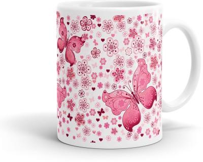 Heartzy Pink Butterfly  Ceramic Mug