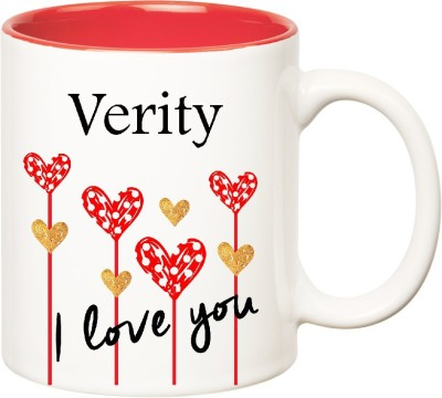 Huppme I Love You Verity Inner Red  (350 ml) Ceramic Mug