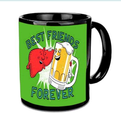 RajLaxmi Friend Forever Black Ceramic Mug