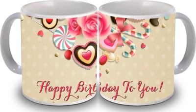 Print Hello Happy Birthday Set of Two Cake 88 Ceramic Mug