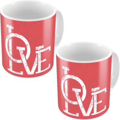 Little India Pink Designer Romantic Print Coffee s Pair 675 Ceramic Mug
