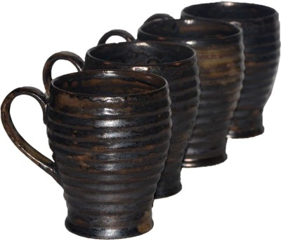 Inhomez Metallic Brown Ribbed Studio Stoneware Coffee  Ceramic Mug