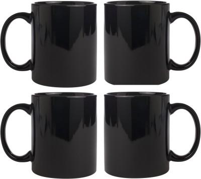 Snapgalaxy Black Combo of 4 pcs Ceramic Mug