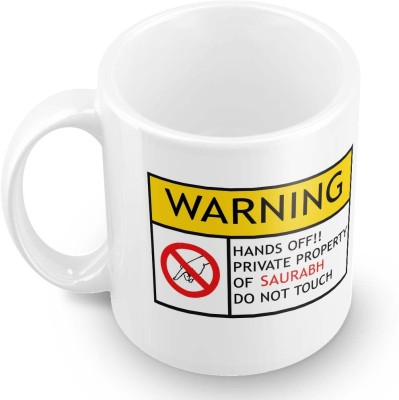 posterchacha Saurabh Do Not Touch Warning Ceramic Mug