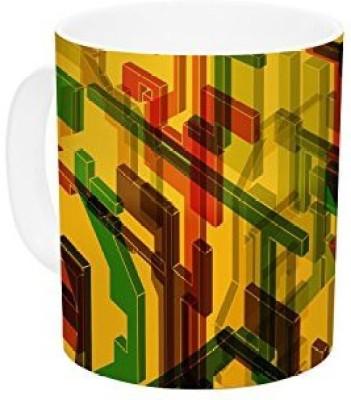 Kess InHouse InHouse Roberlan Three Dee Yellow Red Ceramic Coffee , 11 oz, Multicolor Ceramic Mug
