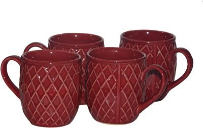 Inhomez Red Diamond Stoneware Coffee s- Set Of 4 Ceramic Mug
